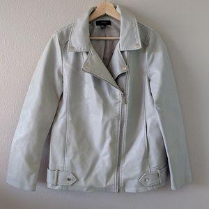 Forever 21 Gray pleather Moto Jacket Size Medium